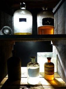 Old Glass Pharmacy Bottles